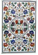 30 X 48 Inches Multi Gemstones Inlaid Coffee Table Top White Marble Patio Table