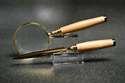 Whiskey Barrel Magnifying Glass And Letter Opener In Gold Finish And Black Trim