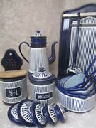 Fab Old French Enamelware Kitchen Set 15 Pieces Navy/wh Coffee Pot Country Farm