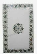 30 X 48 Inches Marble Coffee Table Top Inlay Shiny Gemstones Work Dining Table