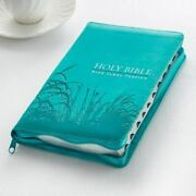 Kjv Standard Size Thumb Index Edition Zippered Turquoise Leather