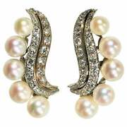 Classic 1950and039s Up Swept Diamond And Pearl Cocktail Earrings