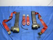 1987-93 Ford Mustang Gt Red Front Seat Belt And Buckles Pair 062