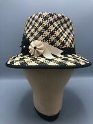 Vintage Louise Green Fedora Black And White Woven Straw Hat Size Adult Large