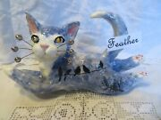Feather Original Whimsiclay Cat With Bird Decor, By Amy Lacombe. + Free Gift