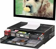 Monitor Stand Riser With Drawer Metal Desk Organizer Dual Pull Out Storage Racks