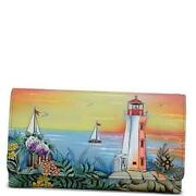 Women's Hand Painted Rfid Blocking Accordion Flap Wallet, Hdr Guiding Light