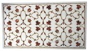 30 X 60 Inches Marble Dining Table Top Inlay Carnelian Stone Reception Table Top