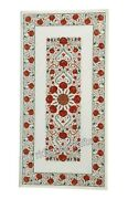 24 X 48 Inches Carnelian Stone Inlaid Coffee Table Top White Marble Hall Table