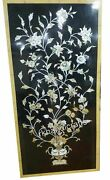 24 X 48 Inches Mother Of Pearl Work Coffee Table Top Black Marble Wall Panel
