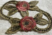 Antique French Metalwork Embroidered Satin Stitched Floral Embellishment Coral