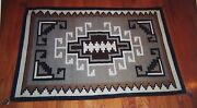 Navajo Two Grey Hills Rug Weaving Tapestry Native American Indian 37x 56