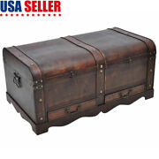 Large Vintage Wooden Treasure Storage Trunk Antique Chest Coffee Table Chic Usa