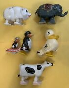 5 Vintage Ramp Walkers 60and039s Hong Kong Elephant Duck Cow Pig Penguin Animals