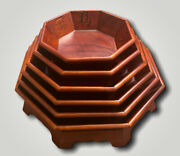 Old Chinese Set 6 Hardwood Octagon Gallery Nesting Trays Wood Stackable Carvings