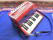 Vintage 60s 70s Bontempi Toy Squeeze Box Keyboard Accordion Musical Instrument