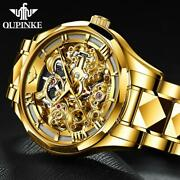 Oupinke Swiss Brand Luxury Menand039s Watches Automatic Gold Skeleton Sapphire Glass
