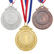 3pcs Gold Silver Bronze Winners Medals W/ Ribbon - Sports Party Bag Prize Awards