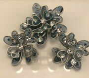 Signed Vogue Poured Glass Rhinestone Brooch And Clip On Earrings Rare