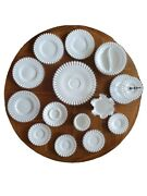 14pc Lot Fenton Milk Glass Clear Ruffled Edging Plates Serving Bowl Silver Crest