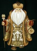 Wow Unbelieveable Hand Carved And Painted Russian Santa W/ Pocket Watch 2776