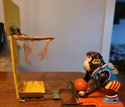 Antique 1960and039s Vintage Tps Monkey Basketball Player Tin Wind-up Toy