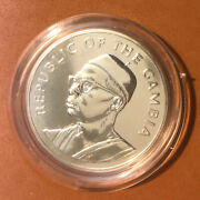 1975 Gambia 10 Dalasis Silver Proof Coin-km16low Mintage-50,000 Only