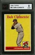 1958 Topps 52 Roberto Clemente Ksa 8 Very Nice High-end Card With Great Appeal