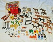 Huge Lot Of Playmobil Figures Horses Weapons Cows Accessories Western Cowboy