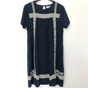 Brass And Roe Linen Embroidered Blue Shift Dress Womenand039s Size Xl Short Sleeve