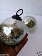 Christmas Kugel Ornaments Heavy Glass 3and039and039 Silver Chip Crackle Design Home Decor