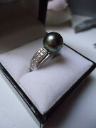 9ct White Gold Large Tahitian Black Pearl And Diamond Band Ring Gorgeous Setting