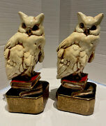 Antique Marion Bronze Clad Mgt. Co. Enameled Snowy Night Owl Bookends/doorstops