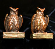 Antique Owl Bronze Clad Bookends Made By Marion Bronze In Metuchen New Jersey❗️