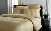 1317 New Donna Karan Home The Essential Silk Full/queen Quilt And Shams Set Gold