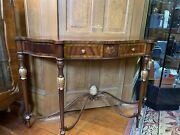 Maitland Smith Flame Mahogany And Satinwood Marquetry Console Table Can Ship