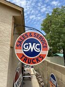"""Huge''gmc'' Trucks Porcelain Double Sided Sign 42"""" Sign Only"""
