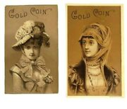Victorian Gold Coin Coal Stove And Fire Pot Lot Of 2 Print Card Advertisements