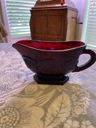 Avon1876 Cape Cod Ruby Red Glass Footed Gravy Boat Vintage New In Box Perfect