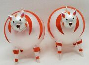 Vintage Lot Of 2 Glass Blown Cat Christmas Tree Ornaments