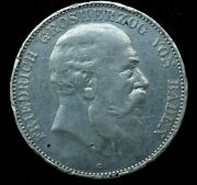 1907 Friedrich German 5 Mark Silver Large Coin 27.8 Grams 38mm - Great Condition