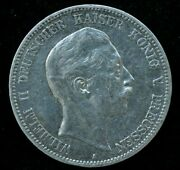 1908 Wilhelm Ii German 5 Mark Silver Large Coin 27.8 Gr 38mm - Great Condition