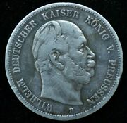 1876 Wilhelm I German 5 Mark Silver Large Coin 27.8 Gr 38mm - Great Condition