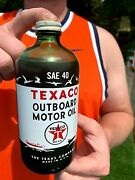 Vintage Full Green Glass Texaco Outboard Boat Motor Oil Bottle Can Sign Texas