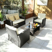 Yitahome 4pc Outdoor Patio Furniture Sets Wicker Sofa Rattan Chair Sectional Set
