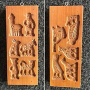 2 Sided Vintage Wooden Mold Butter Cookie Chocolate Dutch Carved Speculaas Nl