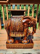 Vintage Glazed Brown Elephant Garden Seat/ Plant Stand Very Detailed Huge 50lbs+