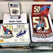 2013 Niue S2 50 Years Of Spiderman Ngc Pf70uc Coa 013 Hand Signed By Stan Lee