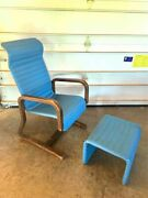 Vintage Thonet Mid-century Modern Bent Wood Lounge Chair And Ottoman