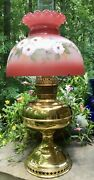 Antique Rayo Center Draft Oil Lamp W/ Artist Hand Painted Shade